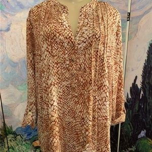 Avenue Rust/Beige Print V-Button Neck Tunic Top